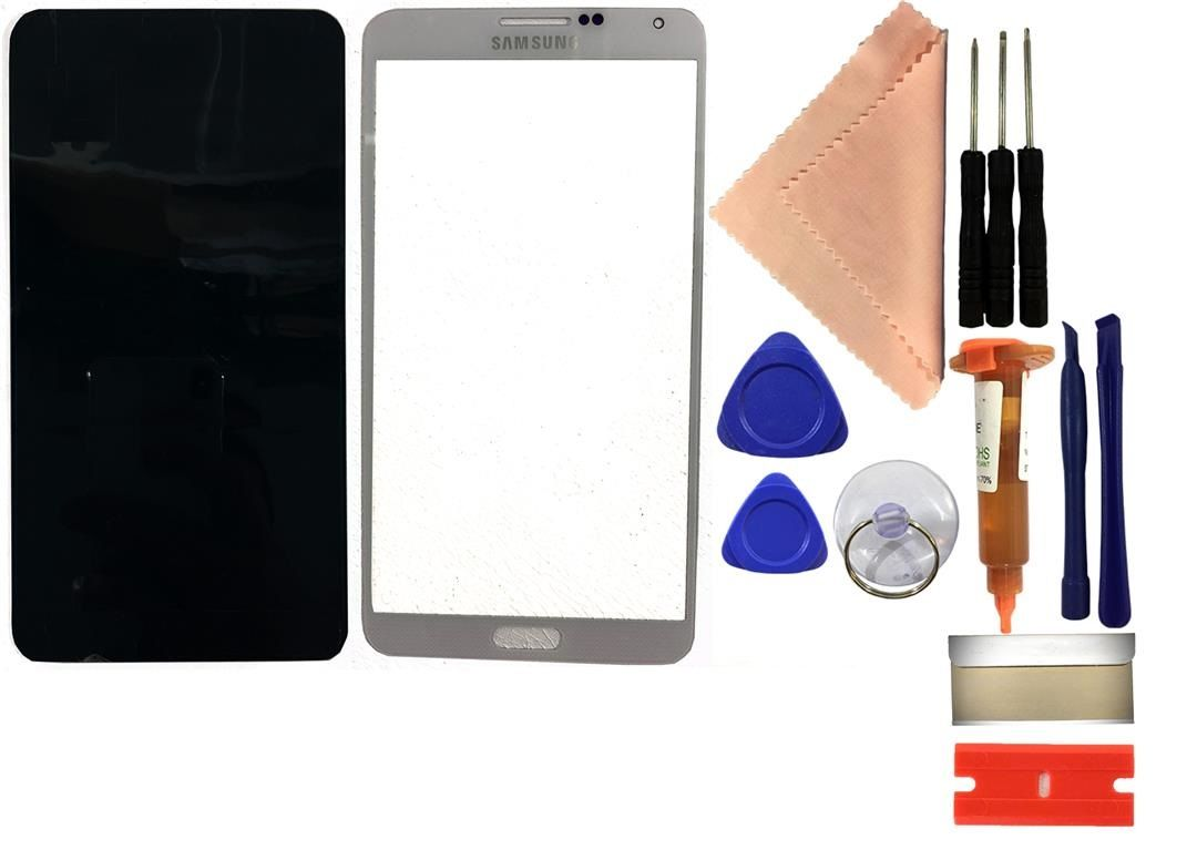 Reparaturset SAMSUNG Galaxy Note 3 N9005 Displayglas mit UV Kleber + Werkzeug weiß