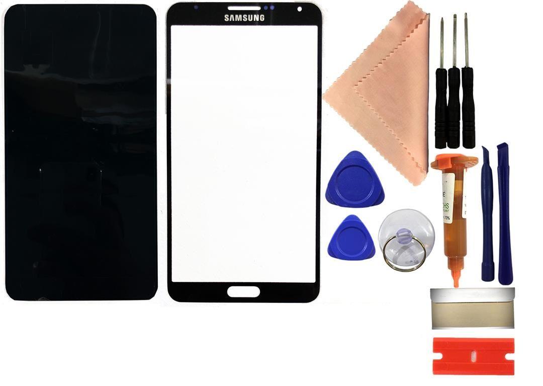 Reparaturset Samsung Galaxy Note 3 N9005 Displayglas mit UV Kleber + Werkzeug schwarz
