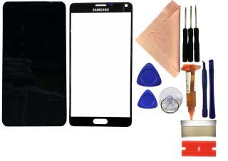 Reparaturset SAMSUNG Galaxy Note 4 N910F N910C Displayglas mit UV Kleber + Werkzeug schwarz