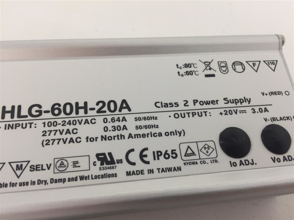 HLG-60H-20A 60W 20V Alimentatore Switching Mean Well Power Supply Netzteil