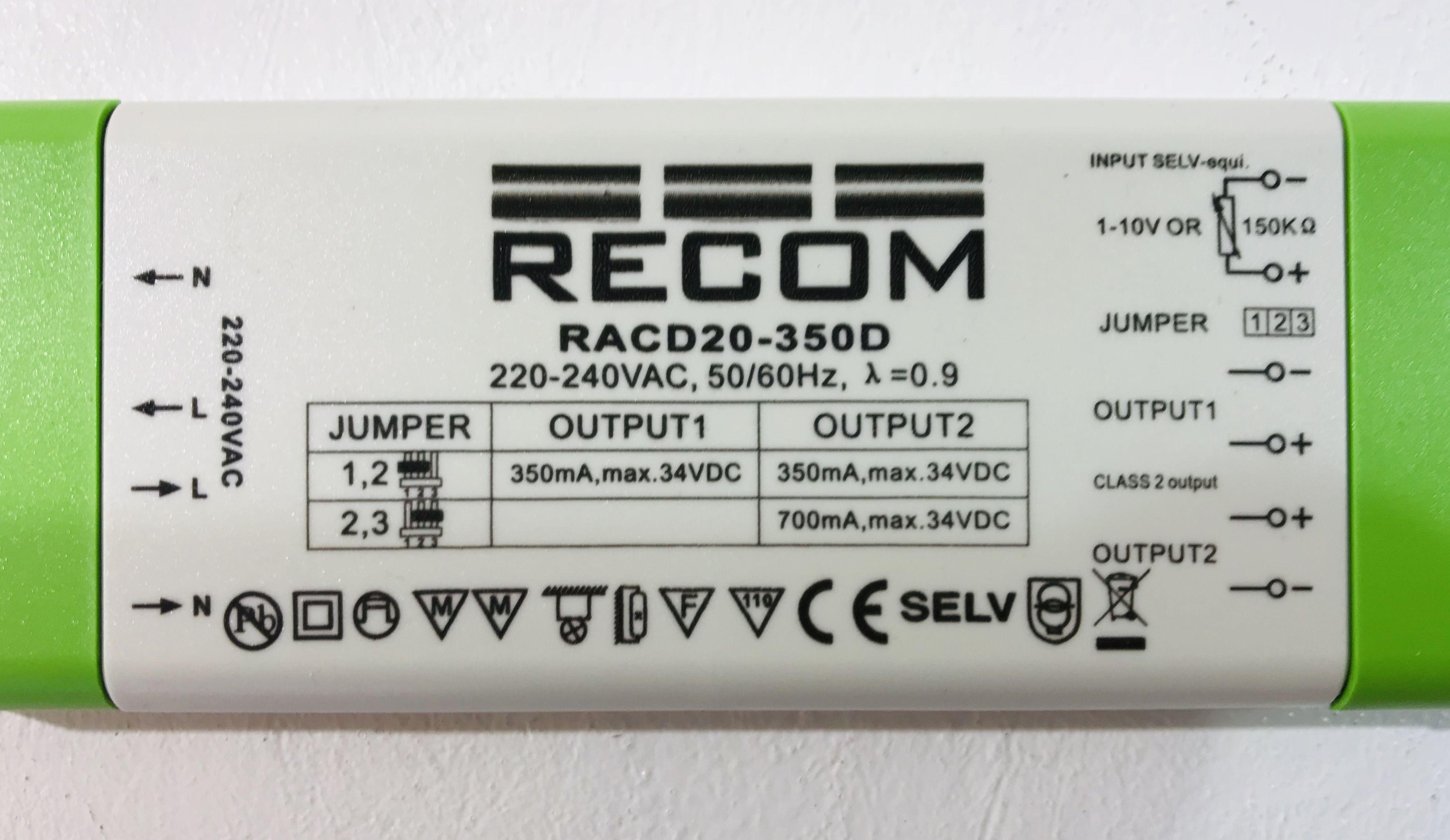 Recom RACD20-350D LED Treiber Trafo Transformator Driver 350mA 700mA max 34V