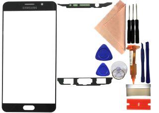 Reparaturset Samsung Galaxy Note 5 SM-N920C Displayglas mit UV Kleber + Werkzeug schwarz