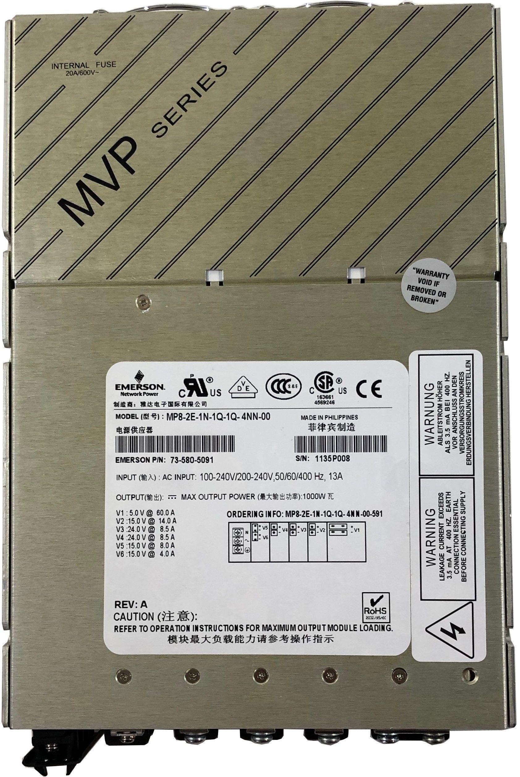 Industrie Schaltnetzteil EMERSON MP8-2E-1N-1Q-1Q-4NN-00 13A 1000W P/N: 73-580-5091
